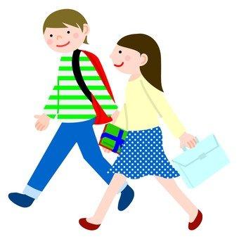 ผู้ชายและผู้หญิง 1 เดินเคียงข้าง