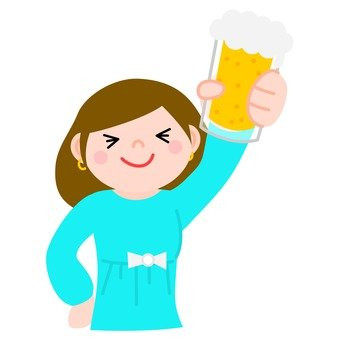 A toast with beer (woman)