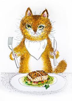 Cat eating fish food