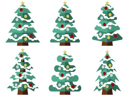 화려한 크리스마스 트리 일러스트 세트