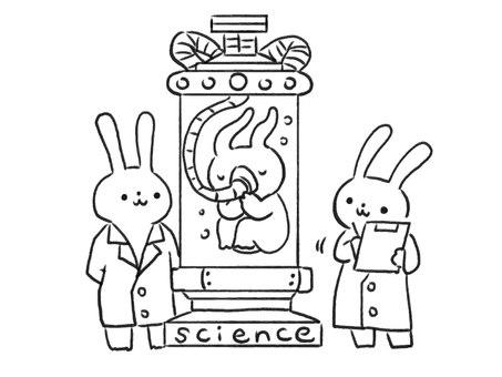 [Line drawing] Scientist rabbit doing suspicious experiments