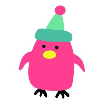 Pink penguin wearing a hat