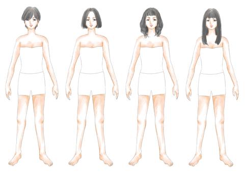 Fashion illustration black hair body 01