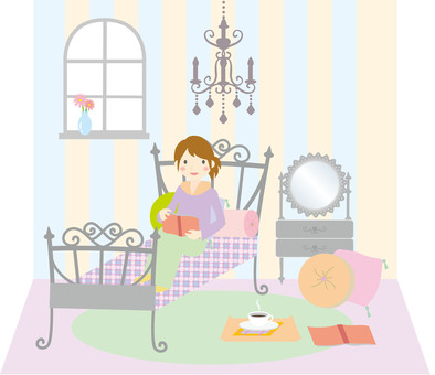 A woman relaxing in a bedroom