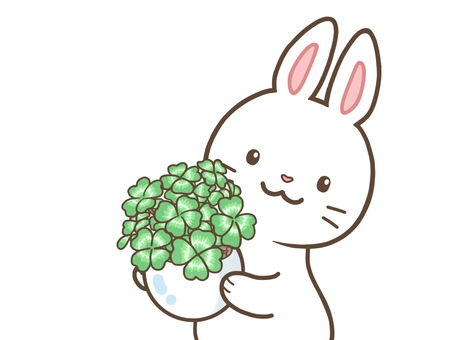 A rabbit carrying a potted plant of four-leaf clover
