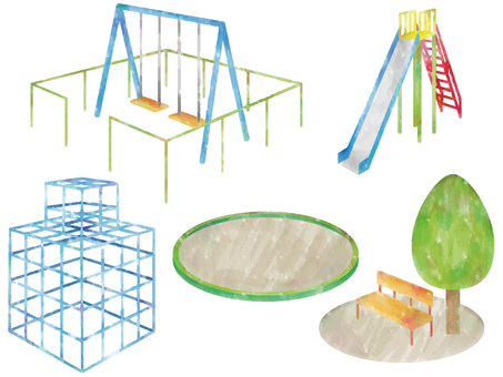 Watercolor style playground equipment set