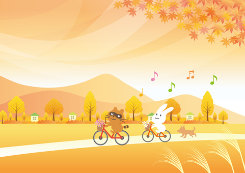 Cycling in autumn scenery