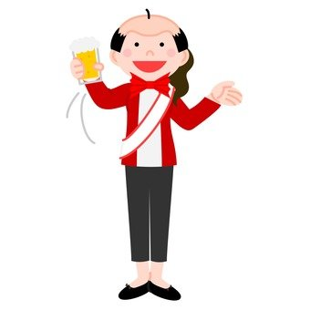 A woman who takes a toast of a toast by wearing a baldness, moves