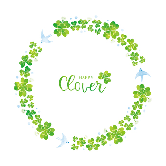 Spring background frame 047 Clover watercolor
