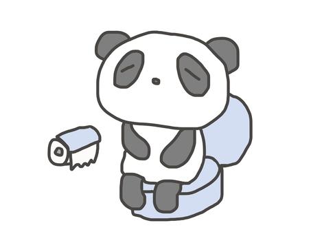 Panda pensive in the toilet