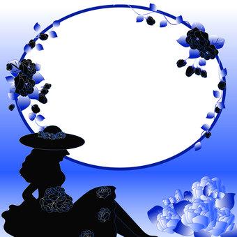 Blue type rose frame 2