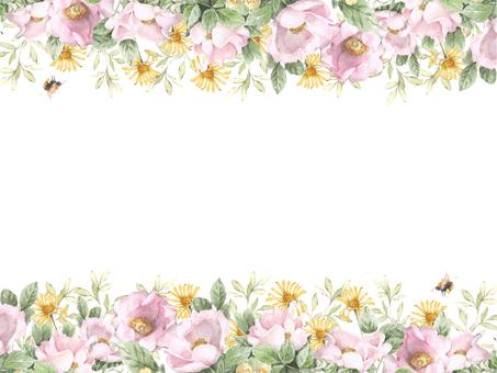 花枠382-一重の野ばらと黄色の野の花