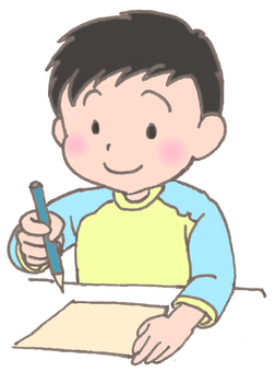 Boy drawing picture Yellow light blue