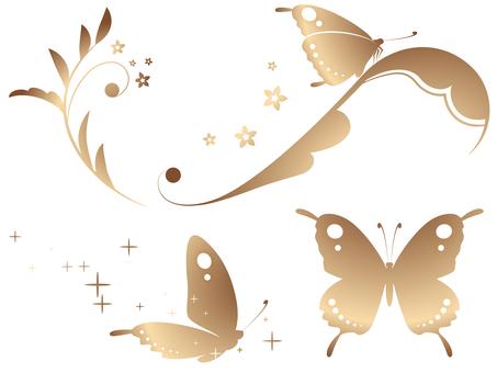 蝶と蔓草のセット(銅グラデーション)