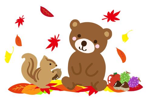リスとクマと紅葉