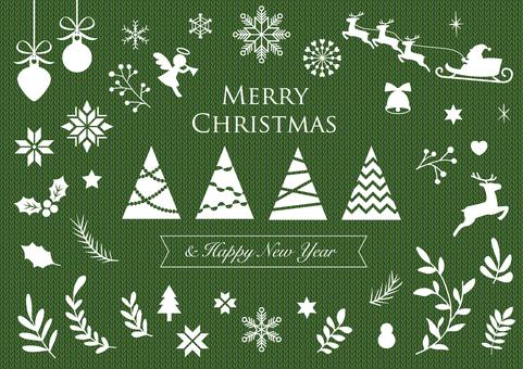 クリスマスシルエットセット(緑)