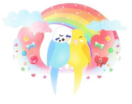 A parakeet and a rainbow of a dream.