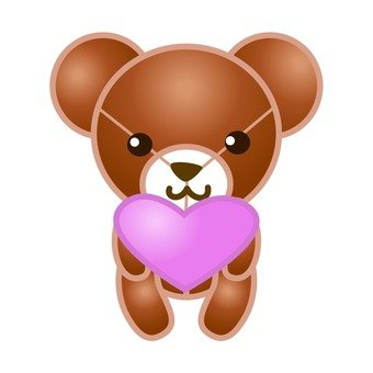 A bear holding a heart