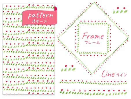꽃 프레임, 패턴, 라인