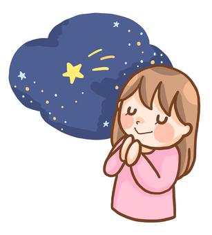 Shooting star wishing woman