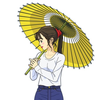 Image of a woman holding a Japanese umbrella - 001 B