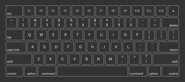 Illustration of alphabet keyboard (black)
