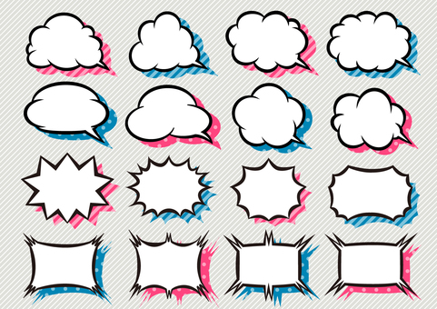 Speech bubble set with background (blue / pink)