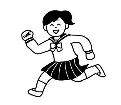元気な女子学生(シンプルモノクロ)