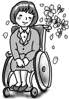Wheelchair newcomer woman black and white short