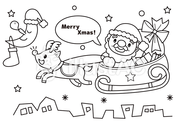 クリスマス ぬりえイラスト No 1293731無料イラストならイラストac