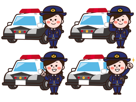 Police car and police officer / policeman (female) set