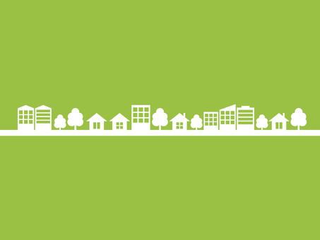 Cityscape silhouette yellowish green