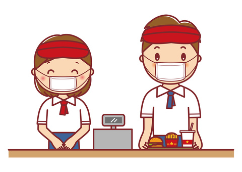 Illustration of a fast food clerk wearing a mask