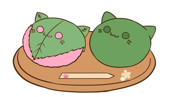 Sakura rice cake and grass cloth cat