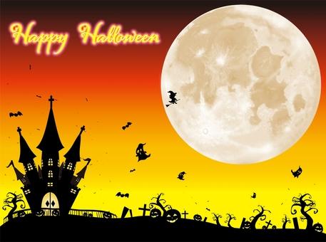 ハロウィン リアルな月の風景 オレンジ