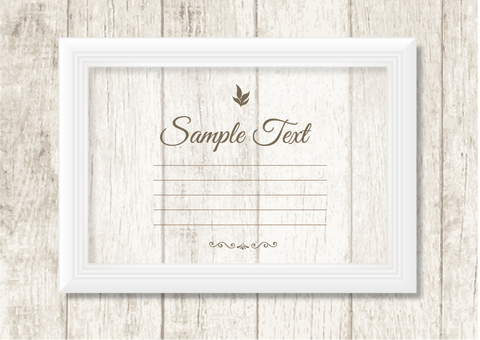 White frame with woodgrain background