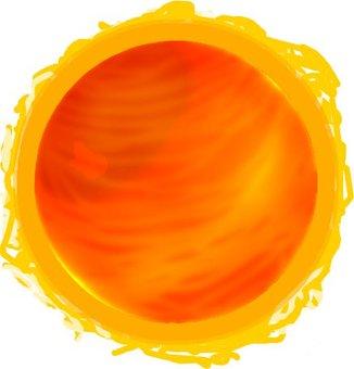 Violently burning sun