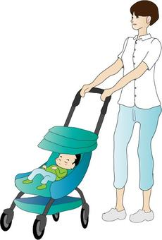 Stroller and mother