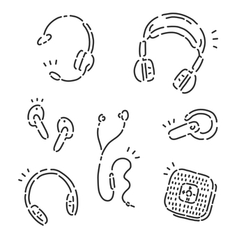 Material set for various types of headphones