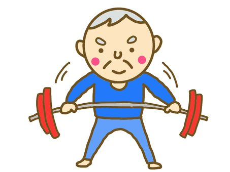 Senior barbell muscle training