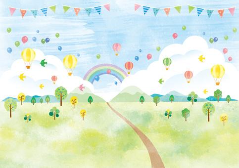令人興奮的風景與氣球和氣球