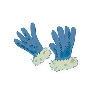 Gloves with fur blue