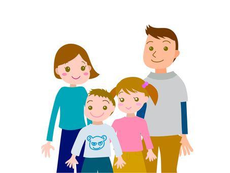 四人家族上半身 パパ ママ 姉 弟