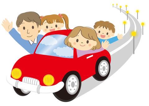 Family drive on highway