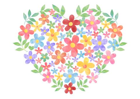 꽃과 잎 _ 파스텔 _ 하트 모양 1838