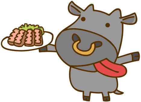 쇠고기를 가진 일본 흑소