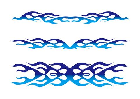 Flame decoration _ blue gradation