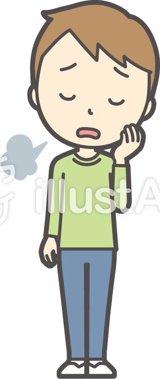男の子グリーン長袖-081-全身のイラスト