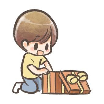 Boy opening a present