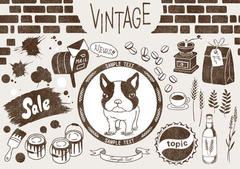 Set of vintage-style illustrations monochromatic version